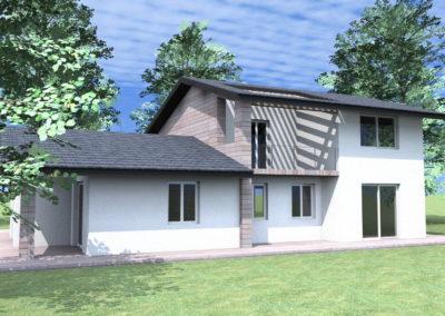 Villa legno e intonaco