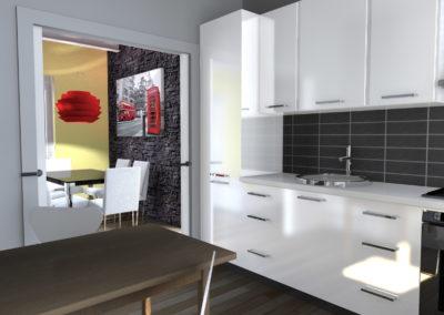 Cucina bianca laccata con maniglie cromate