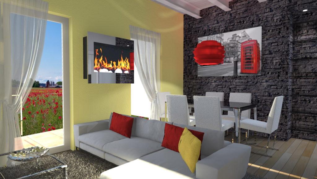 Soggiorno moderno con camino ad angolo awesome salotto for Salotto ad angolo