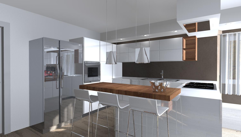 Esempi di render fotorealistici interni di progetto 3d di for Cucina moderna altezza