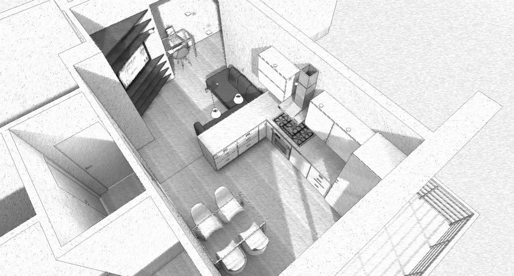 progettazione interni di living open space