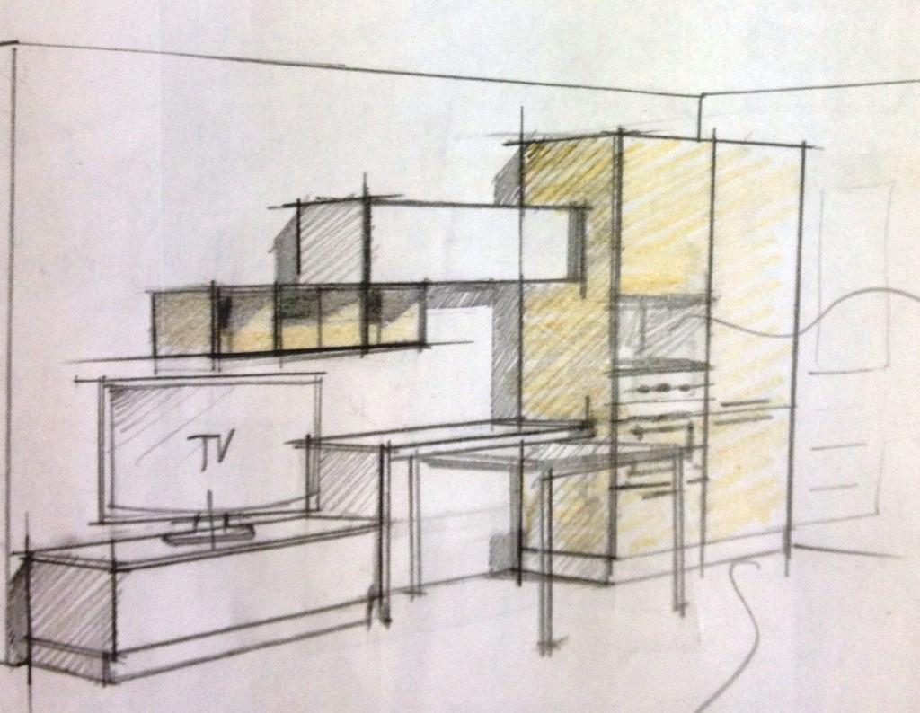 schizzo per il progetto di una cucina