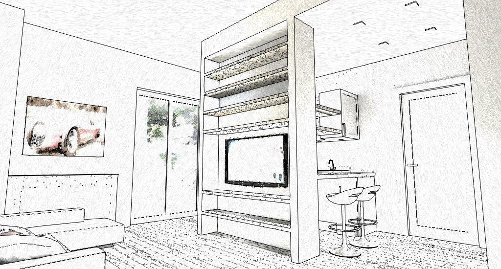 schizzo in bianco e nero di cucina e zona living