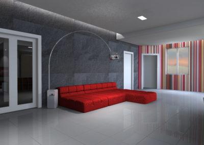 Rendering di Living con parete millerighe rossa