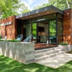 casa su singolo paino moderna e in legno