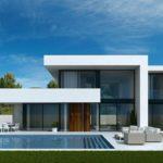 casa bianca moderna con ampie vetrate