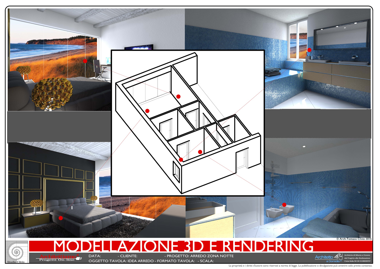 Progettazione 3D villa - camera + bagno
