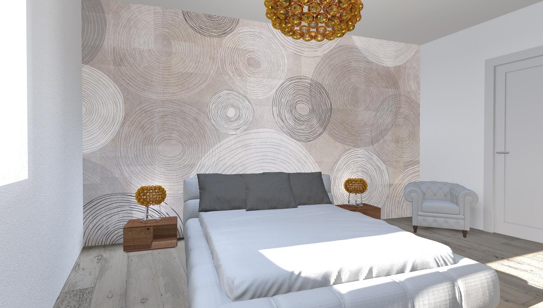 Arredare una nuova costruzione architettiamo progetto d 39 arredo online - Camera da letto con carta da parati ...
