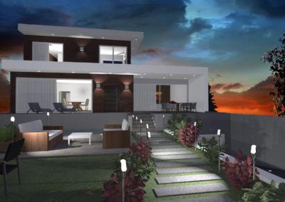 casa moderna al tramonto