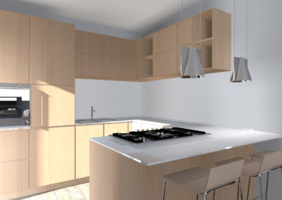 cucina in legno con top laccato