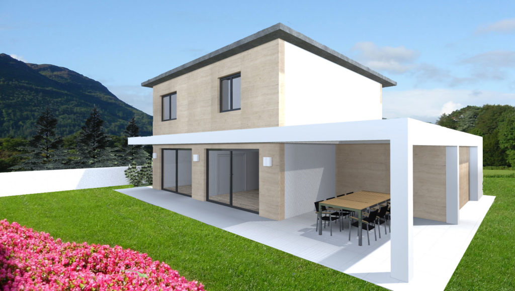 Villa moderna in piemonte esempio di progetto on line for Rendering giardino