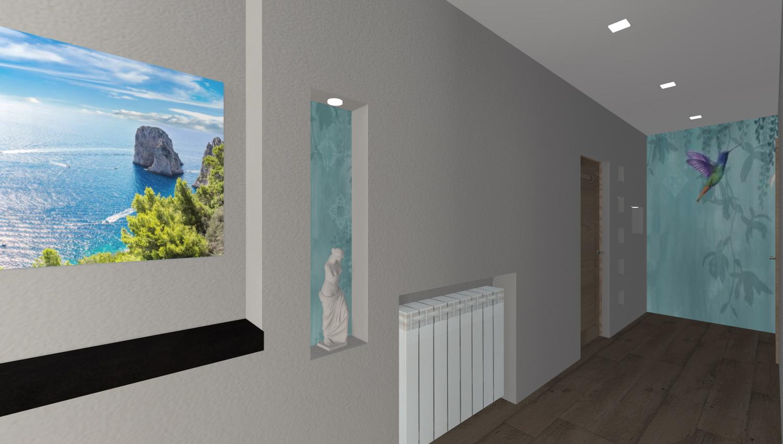 corridoio per accedere all'open space moderno