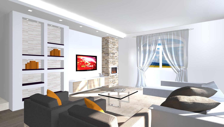 soggiorno moderno con camino in pietra